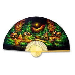"Oriental-Décor - Velvet Village, 40"" Width - A small Asian village is setting out to meet a new day as a lemon-yellow sun rises in the East. Hang this idyllic work of Asian art on any wall for fabulous decor."