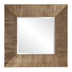 Howard Elliott - James Reclaimed Wood Mirror - Fashioned from reclaimed wood planks, the transitional styling of this accent mirror means it will fit into any home decor. Gorgeous in an entryway or living area, square shaped beveled glass is spotlighted with rustic wood planks with gold accenting. Alone or in sequence, this mirror is sure to bring a relaxed elegance to any modern home.