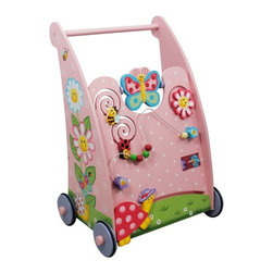Fantasy Fields - Fantasy Fields Magic Garden Baby Walker - TD-11639A - Shop for Baby Entertainers and Walkers from Hayneedle.com! First steps are magical! Give baby support with the Fantasy Fields Magic Garden Baby Walker. Playful cheerful characters and a pretty pink paint job make this a cute accent for her room when she's not toddling with it. With a sturdily carved handle and thick wheels this walker includes a bead maze spinning butterfly and more stimulating manipulatives to captivate her when she takes a rest from walking. Crafted of solid wood and engineered MDF this piece matches other Fantasy Fields Magic Garden collection pieces. You won't find a cuter accent for the playroom bedroom or nursery.About Teamson DesignBased in Edgewood N.Y. Teamson Design Corporation is a wholesale gift and furniture company that specializes in handmade and hand-painted kid-themed furniture collections and occasional home accents. In business since 1997 Teamson continues to inspire homes with creative and colorful furniture.