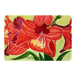 Caroline's Treasures - Flower - Amaryllis Kitchen Or Bath Mat 20X30 - Kitchen or Bath COMFORT FLOOR MAT This mat is 20 inch by 30 inch.  Comfort Mat / Carpet / Rug that is Made and Printed in the USA. A foam cushion is attached to the bottom of the mat for comfort when standing. The mat has been permenantly dyed for moderate traffic. Durable and fade resistant. The back of the mat is rubber backed to keep the mat from slipping on a smooth floor. Use pressure and water from garden hose or power washer to clean the mat.  Vacuuming only with the hard wood floor setting, as to not pull up the knap of the felt.   Avoid soap or cleaner that produces suds when cleaning.  It will be difficult to get the suds out of the mat.