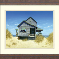Amanti Art - Oceanfront Bungalow Framed Print by Daniel Pollera - Inspired by the styles of Hopper, Homer and Wyeth, Daniel Pollera's work evokes tranquility and solitude.Living by the coastal landscapes that he paints, Pollera brings an almost photographic realism to his beach scenes.