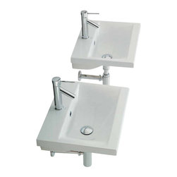Althea - Rectangular White Ceramic Wall Mounted or Self Rimming Bathroom Sink, One Hole - Rectangular white ceramic self rimming or wall mounted sink. Sink comes with overflow and one pre drilled hole. Made in Italy by Althea. Made out of white ceramic. Contemporary design. Includes overflow. One Hole. Standard drain size of 1.25 inches. Because the sink has multiple installations, the back side is not glazed.