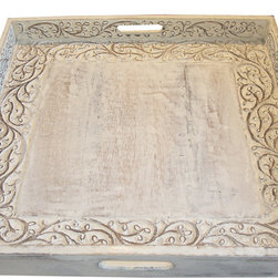 Whitewashed Teak Cottage Style Tray - Whitewashed teak, and oh so pretty. This sturdy serving tray is large in size, and features intricate hand carved details. The whitewash finish adds a casual element to this elegant piece.