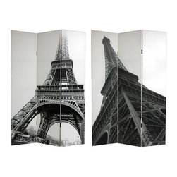 Oriental Furniture - 6 ft. Tall Double Sided Eiffel Tower Canvas Room Divider - These two big, bold, interestingly cropped black and white photographs of Paris's most famous land mark, bring the unique, artistic, elegant geometry of the Eiffel tower into your living room, dining room, office or bedroom. Printed onto six foot tall, three panel room divider screens.