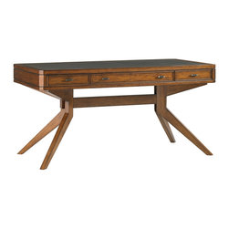 """Lexington - Lexington Longboat Key Lido Shores 60"""" Leg Desk 279LK-410 - Two box drawers flank the center flip-down center drawer providing storage and easy access to the keyboard while relaxing your hands on the ergonomic palm rest. The wood framed leather top creates an ideal work surface."""