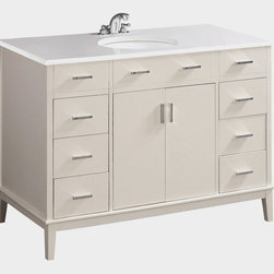 "Simpli Home - Urban Loft White 48"" Bath Vanity with White Quartz Marble Top - The Simpli Home 48 inch Urban Loft Vanity Collection is defined by its white finish,  multi finish chrome pulls & hardware and clean lines and contemporary look.  This beautiful assembled vanity provides large storage area with internal shelf behind its 2 doors and 2 banks of drawers with 6 working drawers"