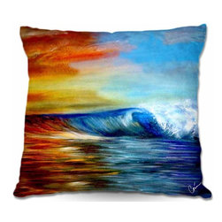 DiaNoche Designs - Pillow Linen - Maui Wave - Add a little texture and style to your decor with our Woven Linen throw pillows. The material has a smooth boxy weave and each pillow is machine loomed, then printed and sewn in the USA.  100% smooth poly with cushy supportive pillow insert with a hidden zip closure. Dye Sublimation printing adheres the ink to the material for long life and durability. Double Sided Print, machine wash upon arrival for maximum softness. Product may vary slightly from image.