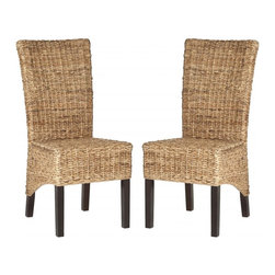 Safavieh - Kiska Side Chair  (Set Of 2) - Styled for drama and comfort, the Kiska dining chair is a natural choice for casual and coastal living. Crafted of a blend of sustainable hardwoods for a woven rattan look, this chair is ideal in contemporary and transitional rooms.