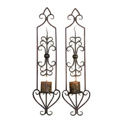 Uttermost Privas Metal Wall Sconces, Set/2 - Combination of mahogany rust and olive bronze finishes. Antiqued candles included. These wall sconces are made of hand forged metal finished in a combination of mahogany rust and olive bronze. Antique candles included.