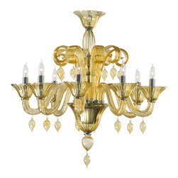 Kathy Kuo Home - Treviso Amber 8 Light Murano Glass Chandelier - Golden rays of light shower down on any room when this beautiful chandelier is turned on.  Clear and amber glass are combined to create a warm, gentle aura. While undeniably traditional, this piece has a modern aspect which would work beautifully in a Hollywood Regency dining room.