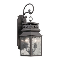 Elk Lighting - EL-47065/2 Forged Lancaster 2-Light Outdoor Sconce in Charcoal - Forged Lancaster Collection 2 light outdoor sconce in charcoal