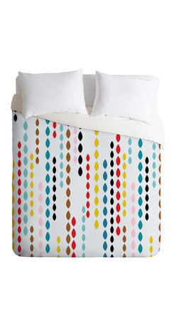 Khristian A Howell Nolita Drops Twin Duvet Cover - Dangling strings of brightly colored drops give this duvet cover a fun, contemporary twist. The animated pattern is strategically broken up with white spaces to keep it light, so it won't completely dominate the room. Try it as an upbeat focal point in a room with a simple two-color scheme.