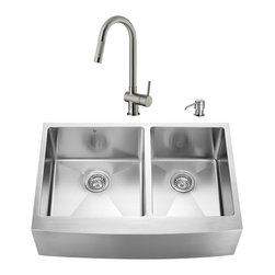 "VIGO Industries - VIGO All in One 33-inch Farmhouse Stainless Steel Double Bowl Kitchen Sink and F - Create an inviting new look in your kitchen with a VIGO All in One Kitchen Set featuring a 33"" Farmhouse - Apron Front sink, faucet, soap dispenser, two matching bottom grids and two strainers."
