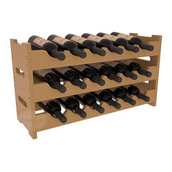 18 Bottle Mini Scalloped Wine Rack in Pine with Oak Stain + Satin Finish - Stack three 6 bottle racks for proper storage of 18 wine bottles. This rack requires light hardware for assembly and is ready to use as soon as it arrives. Makes the perfect gift and stores wine on any flat surface.