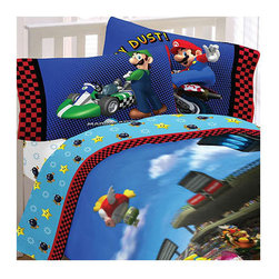 Franco Manufacturing Company Inc - 4pc Super Mario Race Is On Full Bedding Sheet Set - Features: