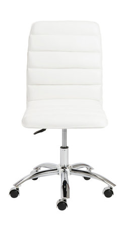 Eurostyle - Jaleh Office Chair No Arms - White/Chrome - Leatherette over foam seat and back