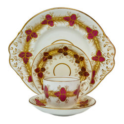 Lavish Shoestring - Consigned 4 Placements Tea Set in Crimson & Gold, English Victorian, 19th Centur - This is a vintage one-of-a-kind item.