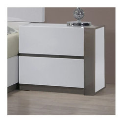 """Chintaly - Manila 2 Drawer Right Nightstand - Features: -Manila collection. -Right 2 Drawer. -Gloss White and Grey finish. Dimensions: -21.65"""" H x 24.41"""" W x 16.14"""" D, 52.33 lbs."""