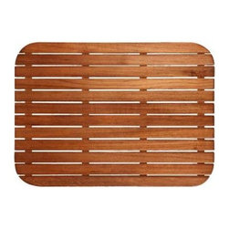 TEAKWORKS4U - Teakworks4u Teak Mat With Rounded Corners, Burmese Teak, Oil Finished - Teakworks4u Teak Mat With Rounded Corners is ideal for indoor or outdoor use. It is constructed of marine grade stainless steel screws that are countersunk into the bottom supports and into the top slats. It features narrow drainage gaps to assure a comfortable surface for bare feet and anti-bacterial rubberized strips are bonded to each teak support to assure the mat stays in place.