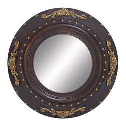 """Contemporary Wood Mirror with Circular Pattern - Elegant and stylish, 35""""D Classic Contemporary Wood Mirror with Circular Pattern is all about what you choose and how you make every corner of your area exclusive. It is hard to look at yourself in this mirror without admiring its design. This stylish wooden mirror is an apt example of a classic selection and appeal. Made of super fine deep brown color wood material, this wood mirror boasts an artistic design in a circular pattern. This circular layered pattern offers it a unique look thereby giving your decor the exclusivity it deserves. The outermost layer of this wooden mirror has designs with a gold finish to offer an antique feel. With the impressive design and frame, this wooden mirror can easily fit any area that you wish to enhance. Featuring quality wood construction, this mirror will last for a long time.. It comes with following dimensions"""