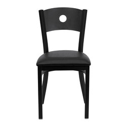 Flash Furniture - Hercules Series Black Circle Back Metal Restaurant Chair - Black Vinyl Seat - Provide your customers with the ultimate dining experience by offering great food, service and attractive furnishings. This heavy duty commercial metal chair is ideal for Restaurants, Hotels, Bars, Lounges, and in the Home. Whether you are setting up a new facility or in need of a upgrade this attractive chair will complement any environment. This metal chair is lightweight and will make it easy to move around. For added comfort this chair is comfortably padded in vinyl upholstery. This easy to clean chair will complement any environment to fill the void in your decor.