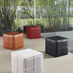 Dacre Cube Pouf - Dacre bench features cross stitching design in fully wrapped leather or synthetic/natural hair.