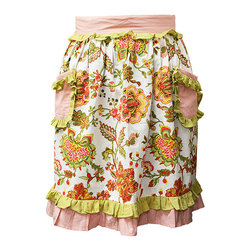 BrandWave - Ethel, Half Apron - This adorable half apron is covered in florals and makes a perfect cover-up for any cooking needs. Protect your clothes while still looking fashionable in this chic and stylish apron.