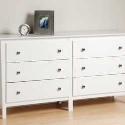 "Prepac - White Berkshire 6 Drawer Dresser - Achieve style and storage harmony with the Berkshire 6 Drawer Dresser. Providing the generous storage capacity you'd expect from a dresser, this piece also brings an upscale highlight to your bedroom with its tapered legs and contemporary looks. Keep a mirror, jewelry and decorative accessories on top and benefit from a dresser that lets you enjoy your storage. Complete your look by matching it with other pieces in the Berkshire Bedroom Collection!; Tapered legs and brushed nickel knobs; Drawers run smoothly on metal glides with built-in safety stops; Clear lacquered real wood drawer sides; Includes a tipping restraint; Finished in durable fresh white laminate; Constructed from CARB-compliant, laminated composite woods with a sturdy MDF backer; Ships Ready to Assemble, includes an instruction booklet for easy assembly and has a 5-year manufacturer's limited warranty on parts; Proudly manufactured in North America; Dimensions: Assembled dimensions: 62""W x 32.25""H x 15.75""D; Internal Dimensions: 24.75""W x 5""H x 12.5""D (drawers)"