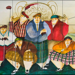 The Tile Mural Store (USA) - Tile Mural - Scottish Links Club - Kitchen Backsplash Ideas - This beautiful artwork by Jennifer Garant has been digitally reproduced for tiles and depicts a group of golfers.  Decorative tiles with sport themes are a terrific way to liven up an otherwise plain wall tile project. Our sport theme tile murals can be used as part of a kitchen backsplash wall tile project or you can use these tiles with a sport theme for your bathroom tile as well. We have several sport themed tiles to choose from like tiles with golf course scenes, hunting dog tiles, sport fishing tiles (tiles with tuna, images of marlins on tiles and tiles with swordfish) and tiles with game birds.
