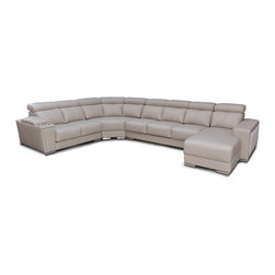 ESF Furniture - 8312 Modern Beige Leather Sectional Sofa with Sliding Seats - Modern Style Sectional Sofa