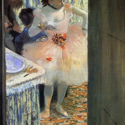 """Edgar Degas Dancer in Her Dressing Room - 16"""" x 24"""" Premium Archival Print - 16"""" x 24"""" Edgar Degas Dancer in Her Dressing Room premium archival print reproduced to meet museum quality standards. Our museum quality archival prints are produced using high-precision print technology for a more accurate reproduction printed on high quality, heavyweight matte presentation paper with fade-resistant, archival inks. Our progressive business model allows us to offer works of art to you at the best wholesale pricing, significantly less than art gallery prices, affordable to all. This line of artwork is produced with extra white border space (if you choose to have it framed, for your framer to work with to frame properly or utilize a larger mat and/or frame).  We present a comprehensive collection of exceptional art reproductions byEdgar Degas."""