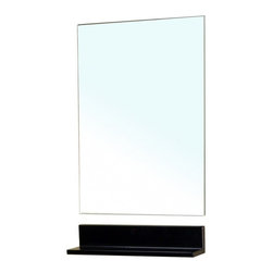 """Bellaterra Home - Rectangular Frameless Mirror - Frameless high quality mirror to prevent rusting caused by bathroom humidity. Additional free standing style shelf for additional storage space. Frame Dimensions: 19.7""""W X 31.5""""H X 6""""D; Finish: Dark Espresso (Shelf); Material: Glass; Beveled: No; Shape: Rectangular; Weight: 10.8; Included: Brackets, Ready to Hang"""