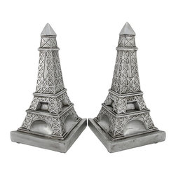 Zeckos - Decorative Metallic Silver Eiffel Tower Bookends - This pair of decorative bookends is a wonderful accent to the home of the worldly traveler, and it is perfect for rooms with Parisian themed decor. Made of cold cast resin, they measure 9 1/4 inches tall, 6 3/4 inches long, and 3 3/4 inches wide. They have a metallic silver finish, and a triangular shape. These bookends look great on shelves, bookcase, table, or desks anywhere in your home or office.