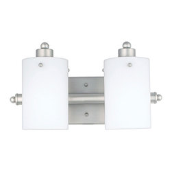Quoizel - Quoizel Empire Silver Bathroom Fixtures - SKU: AN8539ES - Cylindrical shades of opal etched glass distinguish this bath fixture as a striking piece of contemporary chic. The silver finished arms and wall mount contrast with the frosted appearance of the shades, accentuating the smooth lines and round contours that make this piece lovely to behold.