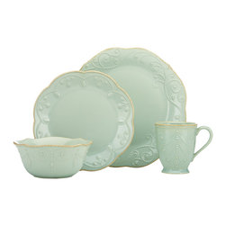 Lenox - Lenox Ice Blue French Perle 4-piece Dinnerware Set - Crafted of stoneware,this dinnerware set from Lenox is durable and perfect for everyday use. With its beaded motif resembling beautiful embroidery in ice blue,this French Perle dinnerware is dressy enough for more formal occasions as well.
