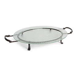 Danya B - Large Oval Textured Glass Serving Platter on Iron Stand with Handles - This gorgeous Large Oval Textured Glass Serving Platter on Iron Stand with Handles has the finest details and highest quality you will find anywhere! Large Oval Textured Glass Serving Platter on Iron Stand with Handles is truly remarkable.