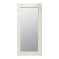 Kathy Kuo Home - Catalina Coastal Beach Capiz Shell Rectangular Floor Mirror - A long, luxurious mirror with shimmering capiz shells is a show-stopping centerpiece. The full-length mirror is framed in an off-white, crocodile pattern, evoking a sophisticated, Hollywood Regency style.