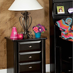 Chelsea Home - Chelsea Home 3 Drawer Nightstand - Black Cherry - 3534538 - Shop for Nightstands from Hayneedle.com! Pairing perfectly with your child's bed set the Chelsea Home 3 Drawer Nightstand - Black Cherry has a striking transitional style. It's made strong from solid Ponderosa pine finished in a black cherry for a dramatic effect. The trio of large drawers slide smoothly and offer plenty of space for knick-knacks.About Chelsea Home FurnitureProviding home elegance in upholstery products such as recliners stationary upholstery leather and accent furniture including chairs chaises and benches is the most important part of Chelsea Home Furniture's operations. Bringing high quality classic and traditional designs that remain fresh for generations to customers' homes is no burden but a love for hospitality and home beauty. The majority of Chelsea Home Furniture's products are made in the USA while all are sought after throughout the industry and will remain a staple in home furnishings.