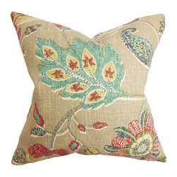 "The Pillow Collection - Jora Floral Pillow Brown 18"" x 18"" - Lively and pretty, this accent pillow is the perfect statement piece for your living space. This throw pillow features a lovely floral pattern in blue, pink, yellow, white hues against a brown background. Made from a blend of 55% linen and 45% rayon material, this 18"" pillow looks great on your sofa, bed or seat. Hidden zipper closure for easy cover removal.  Knife edge finish on all four sides.  Reversible pillow with the same fabric on the back side.  Spot cleaning suggested."