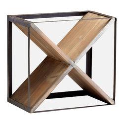 """Joshua Marshal - Raw Iron / Natural Wood 15.5"""" Wine Rack - Raw Iron / Natural Wood 15.5"""" Wine Rack"""
