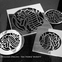 Designer Drains - Oceanus Sea Horse Variety - One of our more successful designs in our Ocean Series is the Sea Horse. Originally suggested by my 3 year daughter for our own shower, the motif now is available in assorted sizes.
