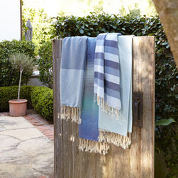 Horchow - Multi-Stripe, Canvas-Weave Bath Towel - Grays and blues and great textures make these towels the perfect choice for the bath, but they're also great as a throw, table linens, a beach towel—or even a pareo! Shown left to right: Honeycomb & Thin-Stripe, Degrade Multicolor, Multi-Stripe Can...