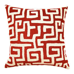 Square Feathers - Red Kuba Pillow - This fun pillow calls to mind on-trend Kuba cloth, but the red and white palette feels completely unique. Wouldn't you be happy with a pile of these on a sofa?
