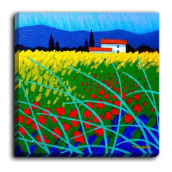 DiaNoche Designs - DiaNoche Canvas Wall Art by John Nolan Provence Poppy Field - DiaNoche Designs works with artists around the world to create fabulous and unique home decor products.  Canvas Wall Art is the finishing touch to every home, office, nursery, bedroom and living space.  Each artistic wall hanging is a reprint of an original art piece and comes ready to hang with hooks and a backing for a clean look and feel.  The inks are UV tested to ensure a fade free lifetime and can be cleaned with a damp cloth.  These are VERY sturdy creations that adds a touch of your class!  Choose unframed or a colored black or walnut fram made from a textured recycled plastic.