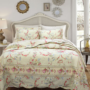 None - Rose Romance 3-piece Quilt Set and Optional Sham Separates - Add a feminine touch to your bedroom with this delicate floral quilt set. Both the cover and fill are made from pure cotton,so they're machine washable as well as comfortable. For your convenience,this set comes complete with quilt and two shams.