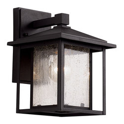 Trans Globe Lighting - Black One-Light 11-Inch High Outdoor Wall Lantern - - Sheets of seedy glass windows provide open ambience. Decorative lantern with pitched roof and over-hang sides for a peaceful garden setting. Opening at bottom allows light to filter down to area below. Simple geometric design  - Cast aluminum square frame with glass panels  - Securely attached to wall by bracket in back  - Bulb is not included  - Glass: Clear Seeded Glass Trans Globe Lighting - 40360BK