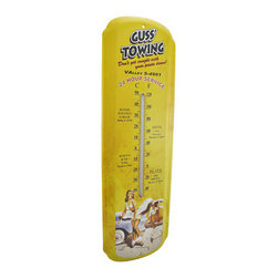 `Guss` Towing` Vintage Look Metal Thermometer 26 Inch - This vintage style metal thermometer features a pinup model, advertising for Guss` Towing` It measures 26 inches tall, 8 inches wide, 1 inch deep and the thermometer is marked in degrees Celsius and Fahrenheit. It has pre-drilled holes that make it easy to mount to any wall, is a great gift for a friend, and adds a wonderful touch of flair to any home, bar, or restaurant.