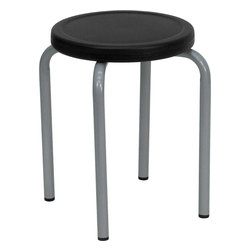 Flash Furniture - Flash Furniture Stackable Stool with Black Seat and Silver Powder Coated Frame - This petite stool will be perfect in the classroom or home. Use in the garage or workshop when working in small areas. [YK01B-GG]