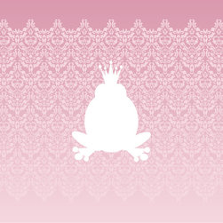 Homeworks Etc - Homeworks Etc White Prince Frog Pink Damask Canvas Wall Art - Enjoy this pretty princess girls canvas wall art depicting a white frog prince against a pink damask background.  Makes a great baby shower or birthday gift! It's lightweight design is easy to hang.  Finished pink edge with no framing required.  Canvas stretched over a wooden frame.  Measures 10 x 10 x 1.5-inches.  Perfect for use in  a children's bedroom.