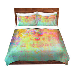 DiaNoche Designs - Duvet Cover Microfiber - Hybrid Ocean - DiaNoche Designs works with artists from around the world to bring unique, artistic products to decorate all aspects of your home.  Super lightweight and extremely soft Premium Microfiber Duvet Cover (only) in sizes Twin, Queen, King.  Shams NOT included.  This duvet is designed to wash upon arrival for maximum softness.   Each duvet starts by looming the fabric and cutting to the size ordered.  The Image is printed and your Duvet Cover is meticulously sewn together with ties in each corner and a hidden zip closure.  All in the USA!!  Poly microfiber top and underside.  Dye Sublimation printing permanently adheres the ink to the material for long life and durability.  Machine Washable cold with light detergent and dry on low.  Product may vary slightly from image.  Shams not included.